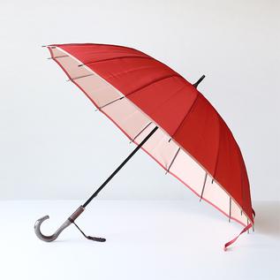 甲州織 長傘 かさね コーラルレッド/アイボリー