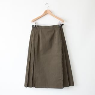 無地プリーツスカート OLIVE