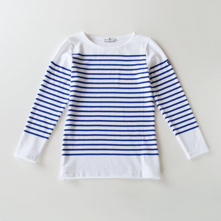 ボーダーカットソー PANEL BORDER white/blue