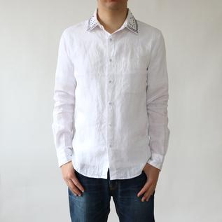 メンズ リネン 刺繍シャツ WHITE