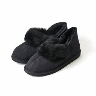 シープスキンムートンアンクルブーツ ブラック