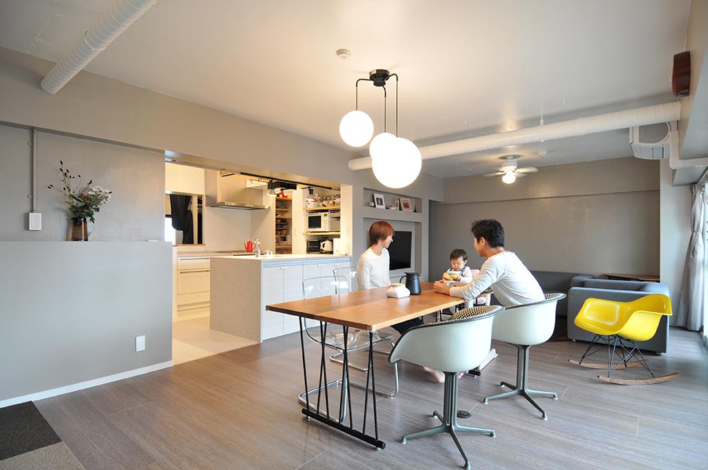 ●施工事例1:家族と同じ空気を共有しやすい広々とした間取りへ