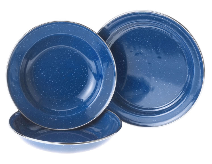 CEREAL BOWL STAINLESS RIM- BLUE