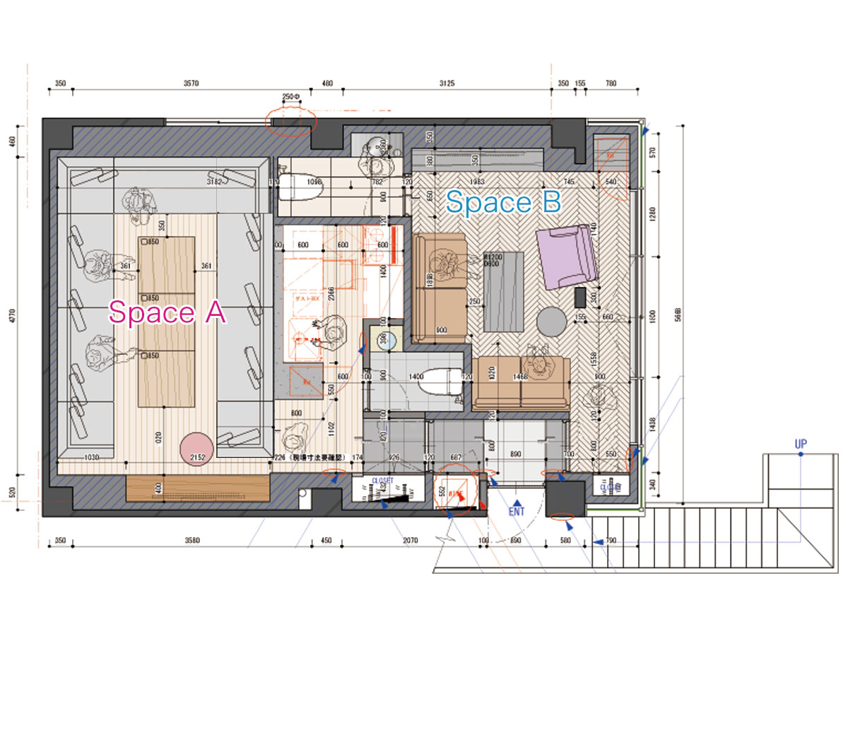 Lounge-R スペースB (ID:10002) 図面|TIME SHARING|タイムシェアリング |スペースマネジメント|あどばる|adval