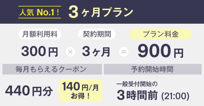 人気No.1!3ヶ月プラン:900円
