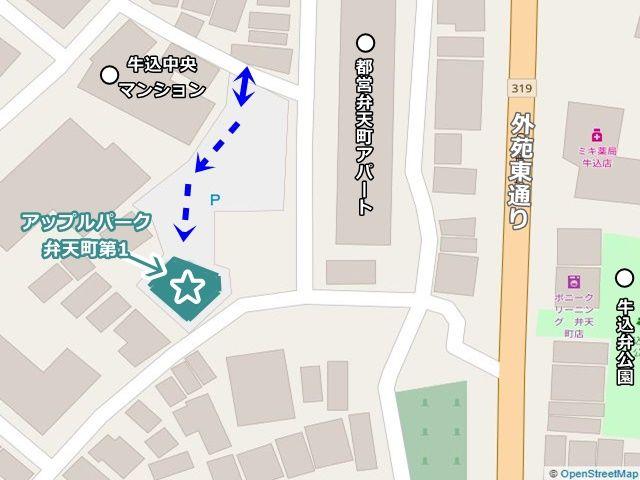 駐車場の位置が分かる図面です、ご確認のうえ、予約したスペースにお停めください