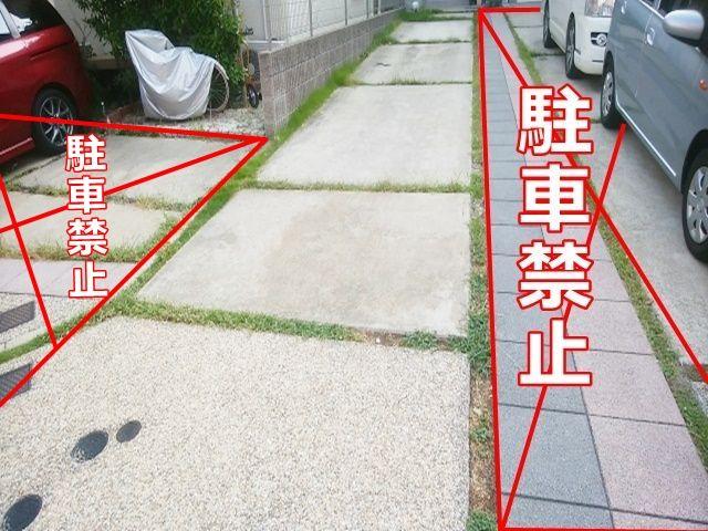 黒ブロックより左側です。駐車場所はお間違えなきようお願いします。