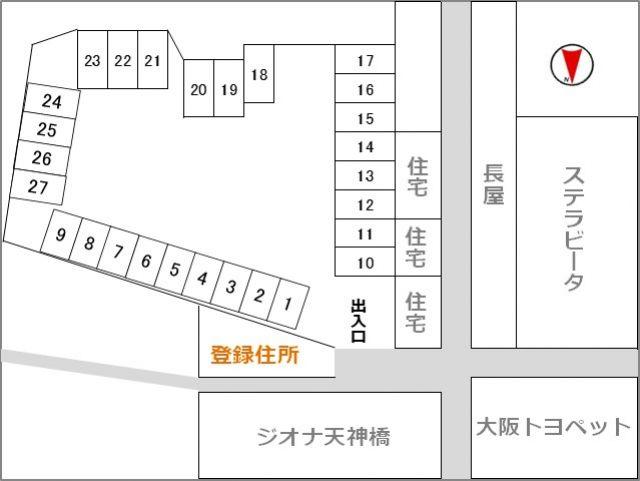 入り口から見た駐車場区画図