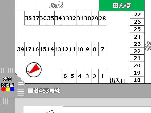 駐車場配置図です。予約したスペース番号と位置をご確認ください。