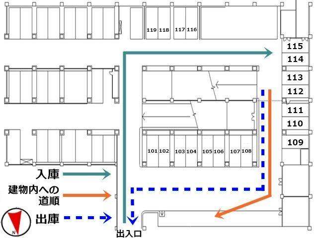 入出庫および地上への出入りの経路は、こちらの駐車場内の図面を参考にしてください。