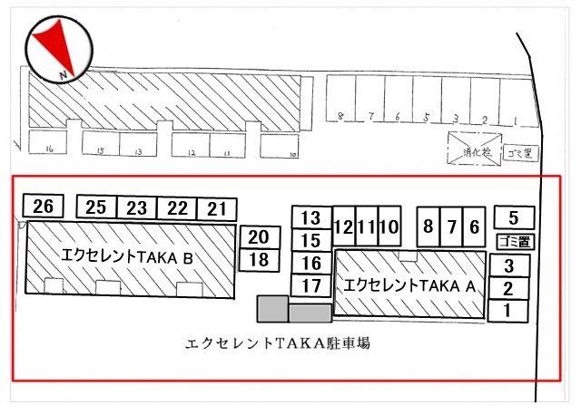 駐車場区画図を参考に駐車してください。