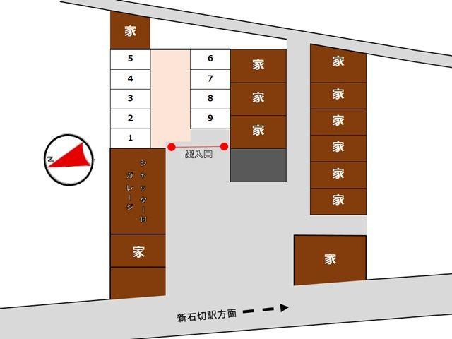 【道順3】区画図になります。駐車スペース番号をご確認のうえ、予約したスペースに駐車してください。
