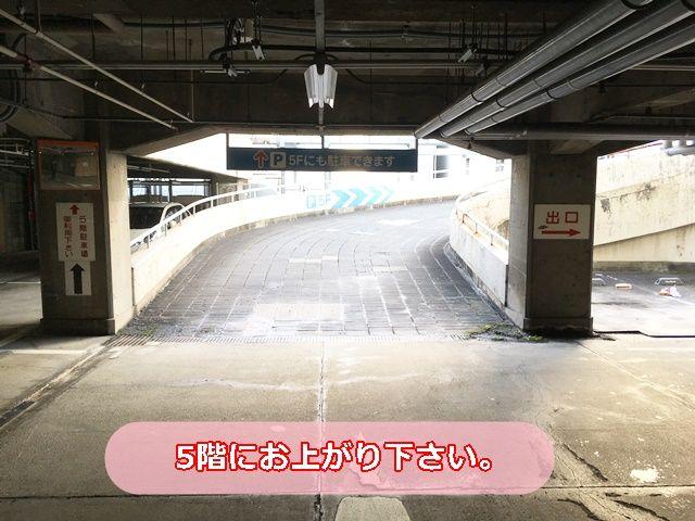 【入庫前道順7】ゆっくりとスロープを登って頂き、5F北側屋外スペースへお上がり下さい。
