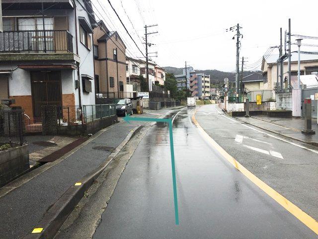 【道順4】道なりにお進みいただくと「左側」に駐車場があります。