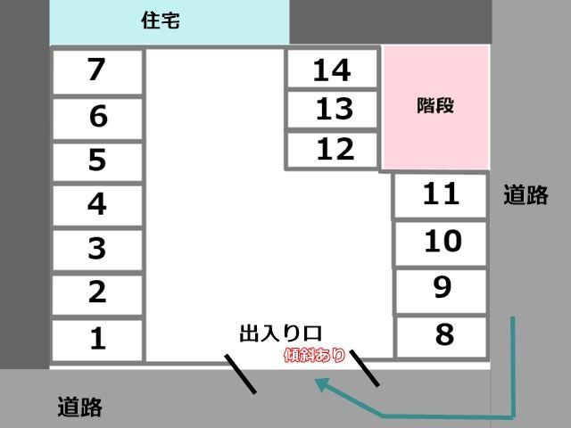 ご利用前に区画図で駐車スペースをご確認の上、駐車してください