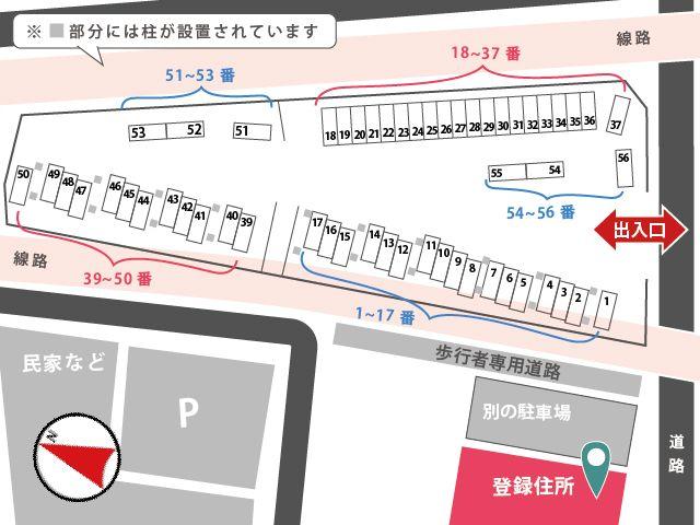 区画図の詳細です。柱があるスペースもありますのでご注意ください。