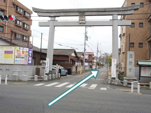 熊野宮駐車場への進入口