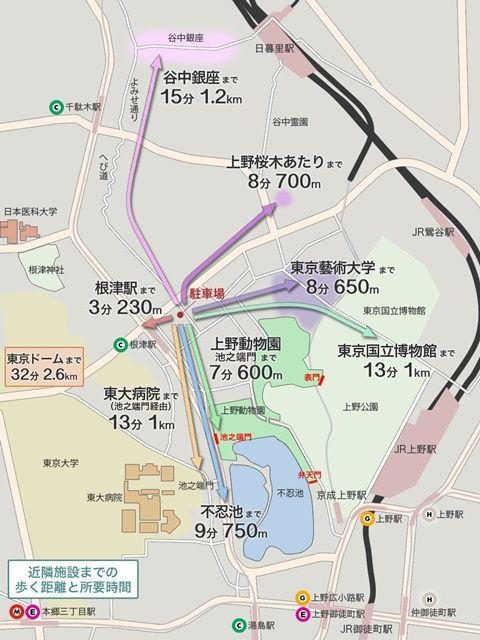駐車場から周辺施設へのアクセス