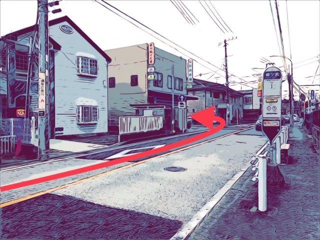 1.バス停(四ツ家)の先の新聞屋を左折