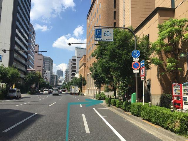 【順路2-1】四ツ橋駅から四ツ橋筋を通り(一方通行)、本町駅に向かう途中に「長瀬パーキング」がございます。