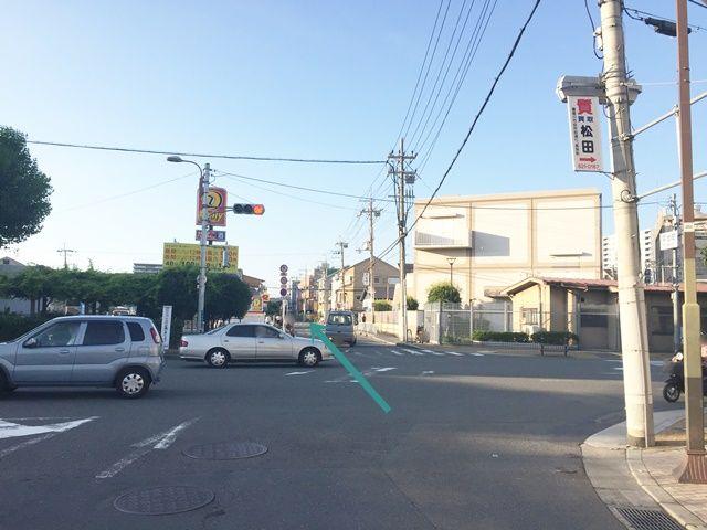 【道順1】「平池町」交差点を、「清水橋北」交差点方面へ「北」に直進してください。