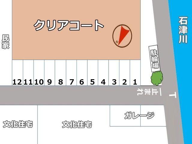 駐車場全体の図面です。予約したスペースの位置にお間違いのないようご注意ください。