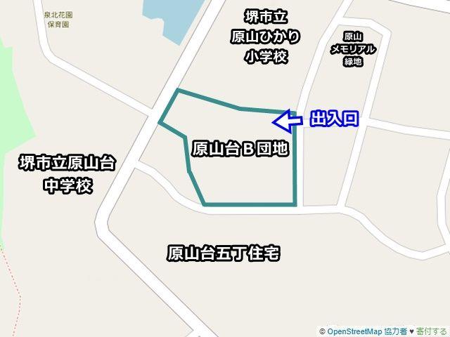 【周辺地図】ご利用いただく駐車場は「原山台B団地」の駐車場です