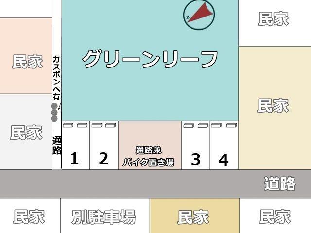 駐車場全体の図面です。ご確認のうえ予約したスペースにお停めください。