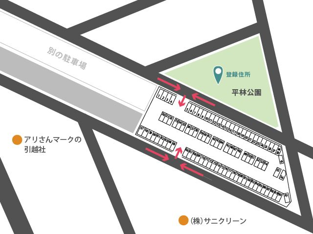 京成千原線が上に通っています。登録住所との位置関係をご参考ください。