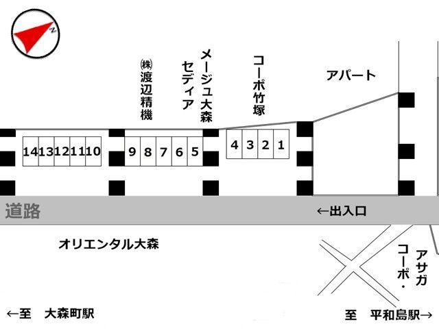 スペース1~14番の駐車場の配置図です。