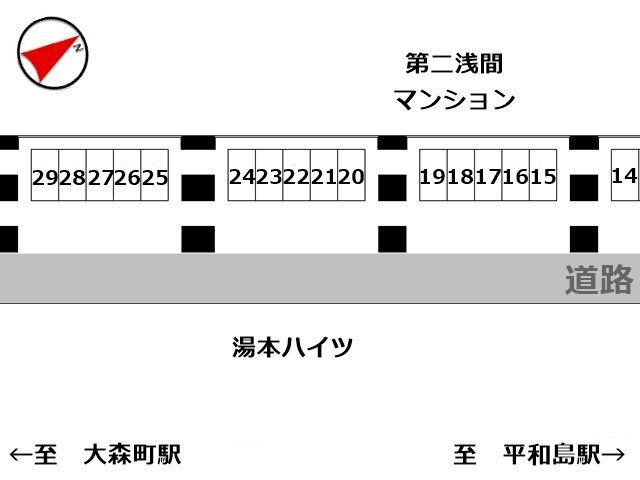 スペース15~29番の駐車場の配置図です。