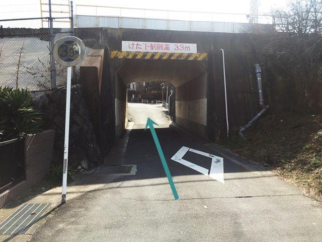 【道順5】途中高さ制限のあるトンネルがあります。注意して進んでください。