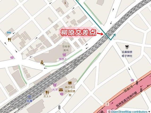 【道順1】国道28号の「大開通5丁目交差点」から阪神高速方面へ向かって「南東」へと進み、「柳原交差点」を山陽本線の高架下を過ぎてから「左折」してください。