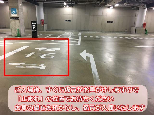 【手順3】ご入場後、すぐに係員がお声がけしますので「止まれ」の位置でお待ちください。お車の鍵をお預かりし、係員が入庫いたします。