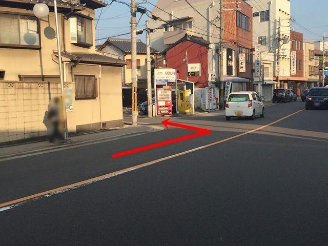 【道順1】九条通から府道115号線を南方面に向かって進入、直進しこちらの角を左折してください。