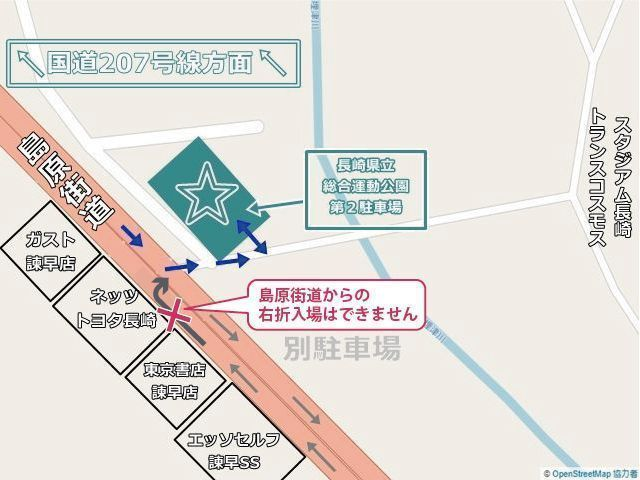 駐車場周辺地図、入り口付近で誘導あり。島原街道からの右折入場はできません。