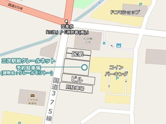 駐車場の位置と全体の建物等の状況が分かる図面です。駐車場のお間違いのないようご注意ください。