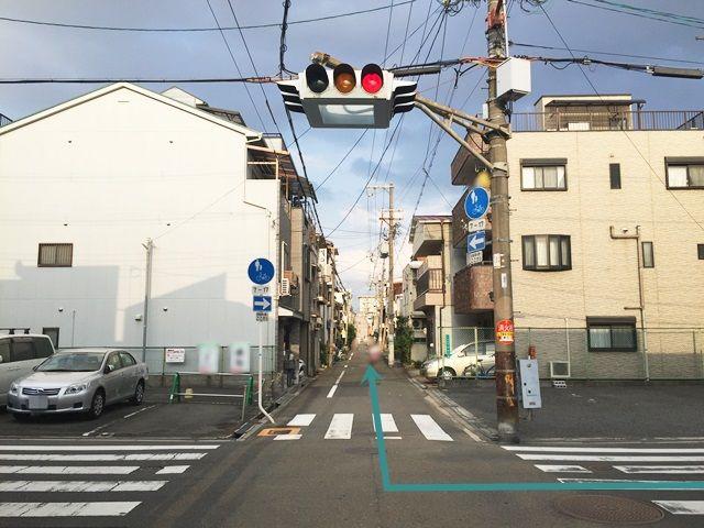 【道順1】今里筋「大今里1交差点」から「玉造駅」方面へ「西」に進み、2つ目の信号を「右折」し直進、1つ目の信号を「右折」してください。