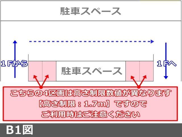 """【B1図】B1内の4区画は高さ制限数値が異なります。""""高さ制限:1.7m""""ですので、ご利用時はご注意ください"""