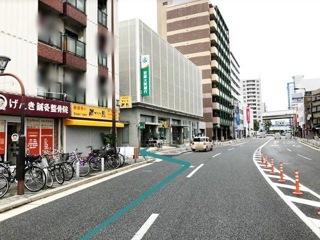 【道順1】府道29号線を北に進み、「近畿大阪銀行」の手前を左折してください。