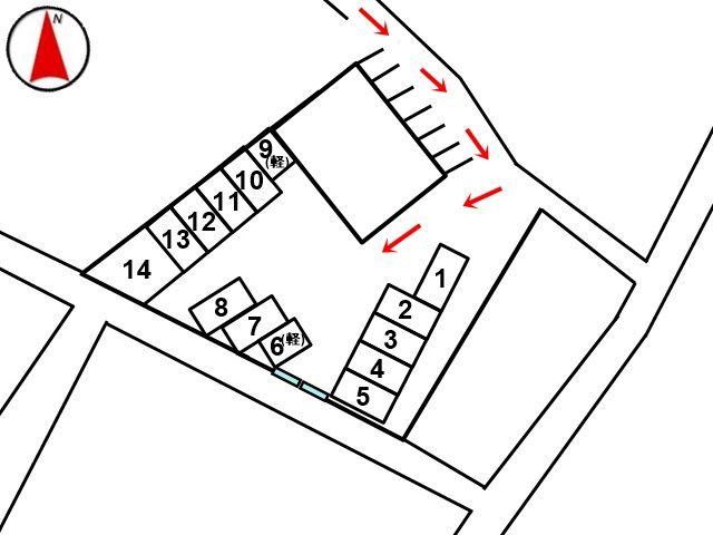 こちらの区画図を参考にご予約時に指定された場所へ駐車してください