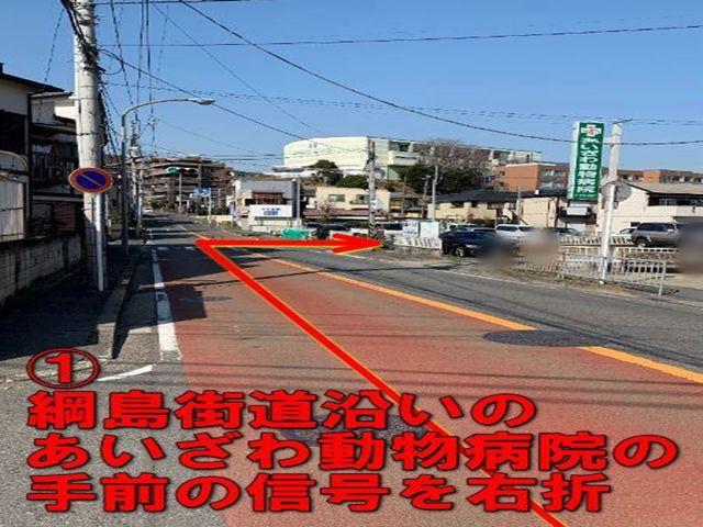 1. 綱島街道沿いのあいざわ動物病院の手前の信号を右折