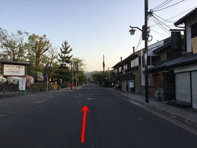 【道順3】直進し、天龍寺を通過してください。