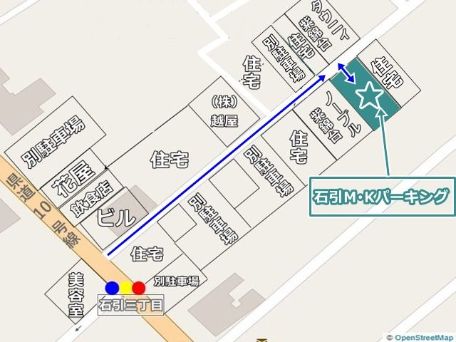 当駐車場の位置と周辺の建物状況がわかる図面です。場所にお間違いの無いようご注意ください。