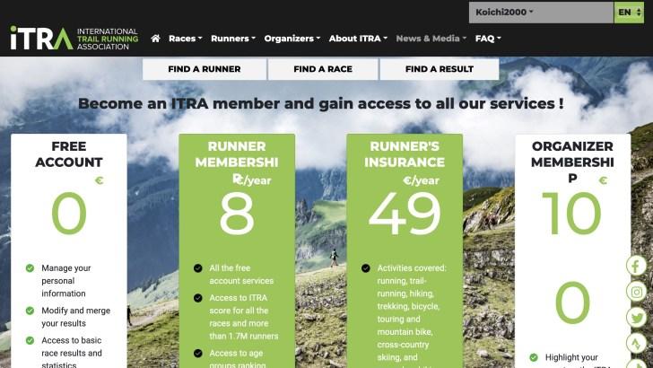 ITRAがウェブサイトを更新、PIとITRAポイントをアップデートし、競技カテゴリーも刷新