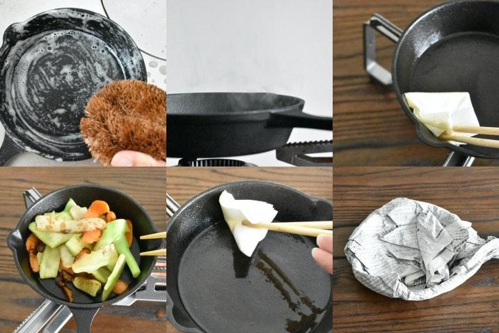 スキレットのシーズニング簡単6工程!調理後や焦げ、サビのお手入れも
