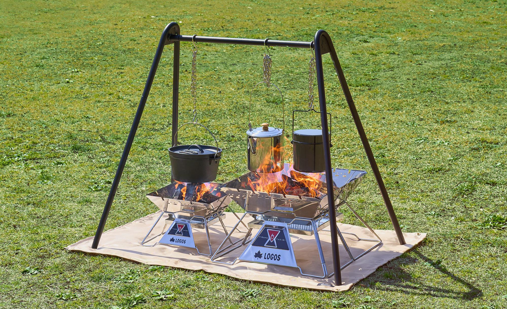 【ロゴス】同時に3つの吊り調理ができる!吊り下げ収納で快適なキャンプスタイルに「TAKIBI A型クックポッド」 新発売!