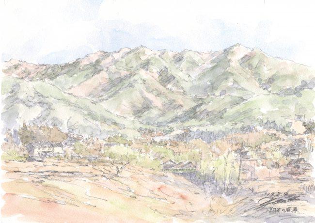 筆とまなざし#118「暖かな陽射しに誘われて、地元の山をスケッチしに。」