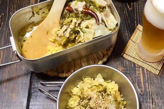 目指せメスティンマニア!@mestin_maniaの絶品レシピ#72【豚肉と高菜の炊き込みご飯】