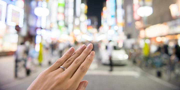 繁華街と指輪